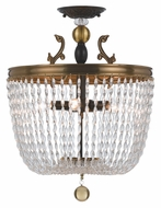 Crystorama 253-FA Kendall Semi Flush 15 Inch Diameter Fiesta Crystal Ceiling Light Fixture