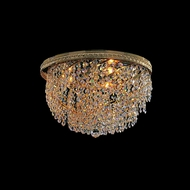 Crystorama 349-24-GD-CL-MWP Bohemian Crystal Basket 24 Inch Diameter Gold Finish Flush Lighting