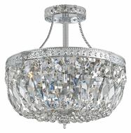 Crystorama 119-10-CH-CL-MWP Traditional Crystal Semi Flush Mount Chrome 10 Inch Diameter Ceiling Light