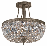 Crystorama 119-12-EB-CL-MWP Richmond English Bronze 12 Inch Diameter Crystal Semi Flush Lighting Fixture