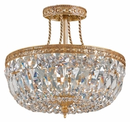 Crystorama 119-12-OB-CL-MWP Richmond Large Olde Brass Finish 12 Inch Diameter Semi Flush Ceiling Light Fixture