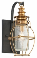 Troy B3571 Little Harbor Small Outdoor Aged Brass 12 Inch Tall Nautical Wall Sconce