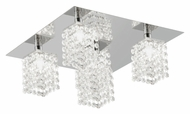 EGLO 85336A Pyton Small Chrome Finish 11 Inch Wide 4 Lamp Crystal Ceiling Light Fixture