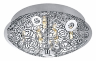 EGLO 90521A Cromer 13 Inch Diameter Chrome Ring Pattern Flush Lighting Fixture - Small