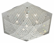 EGLO 90112A Lerida 24 Inch Diameter Chrome Crystal Flush Ceiling Light Fixture - Large