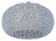 Maxim 39876BCPS Glimmer Large Round 18 Inch Diameter Plated Silver Crystal Flush Ceiling Light Fixture