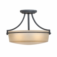 Quoizel CTL1717GK Caitlyn 16.5 Inch Diameter Amber Glass Semi Flush Mount Light Fixture