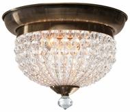 Crystorama 6742AB Newbury Small Brass Finish Crystal Flush Mount Light Fixture