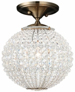 Crystorama 6750AB Newbury Semi Flush Mount Crystal Overhead Brass Lighting Fixture