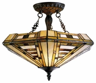 Landmark 600CB American Art Tiffany Tall Semi-Flush Ceiling Light