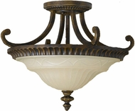 Feiss SF239WAL Drawing Room 17 inch diameter Amber and Walnut Semi-flush Mount Ceiling Light