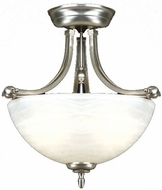 Quoizel DY1606ES Delray Empire Silver Semi-Flush Ceiling Light with Faux Etched Alabaster Glass