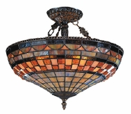 Landmark 614-CB Jewelstone 3 Light Tiffany Semi Flush Ceiling Fixture