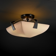 Justice Design PNA963035 Tapered Clips Porcelina Faux Porcelain 14  Round Bowl Semi-flush Ceiling Light Fixture