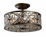 ELK 112864 Amherst Wrought Iron Semi-flush Crystal Ceiling Light
