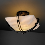 Justice Design PNA971025 Crossbar Porcelina Faux Porcelain Semi-flush 14  Square Bowl Ceiling Light with Crossbar