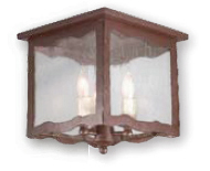 Troy C9335OR Whitney Seedy Glass Hand-Worked Wrought Iron Box Style Semi-Flush Wall Sconce with Old Rust Finish