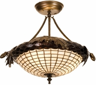 Meyda Tiffany 98965 Acorn and Oak Leaves 15.5 inches wide 3 Bulb Semi-flush Mount Ceiling Light