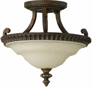 Feiss SF238WAL Drawing Room 15 inch diameter Amber and Walnut Semi-flush Mount Ceiling Light