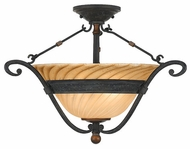 Quoizel GE1723SE Genova Twisted Amber Glass Semi-Flush Ceiling Light