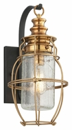 Troy B3572 Little Harbor Large Aged Brass 15 Inch Tall Nautical Style Exterior Wall Lamp