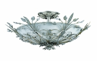 Crystorama 4704-SL Floral 20 inch semi-flush mount in silver leaf finish