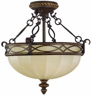 Feiss SF220-WAL Edwardian 3-light 15 inch Walnut Semi Flush Ceiling Light
