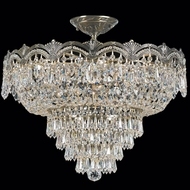 Crystorama 1485 Flight 21 1/2 inch crystal semi flush mount in historic brass finish