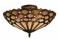 Landmark 938-TB Jewel 3 Light Tiffany 16 inch Semi Flush Ceiling Fixture