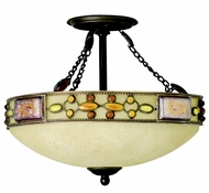 Kichler 65291 Tiffany Art Glass Creations Joya 17 Inch 3 Light Semi Flush Ceiling Fixture