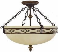 Feiss SF221-WAL Edwardian 3-light 18 inch Walnut Semi Flush Ceiling Light