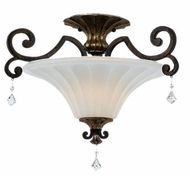 Quoizel MQ1720HL Marquette Heirloom Mottled Amber Scavo Glass Semi-Flush Mount Ceiling Light Fixture with Crystal Drops