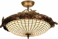Meyda Tiffany 98966 Acorn and Oak Leaves 21.5 inches wide 2 Bulb Semi-flush Mount Ceiling Light