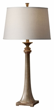 Feiss 10157DRFW/CO Canyon Creek Charcoal Brown Shade Traditional Wooden Bedroom Table Lamp