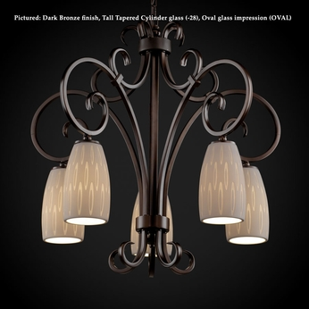 Justice Design POR-8575 Victoria 30 Inch Wide Traditional 5 Lamp Downlight Hanging Chandelier Lighting - Limoges Glass