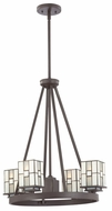 Quoizel TFFN5004WT Finley Small 5 Light Transitional Bronze Square Glass Shade Chandelier Light