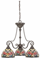 Quoizel TFLR5103VB Larissa Tiffany Glass Bronze Finish 3 Light Dinette Small Chandelier