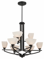 Quoizel EBN5009K Ebony 27.5 Inch Tall Black 9-Light 2-Tier Contemporary Chandelier