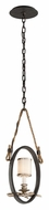 Troy F3443 Drift Rustic 21 Inch Tall Manila Rope Suspended Ceiling Pendant Light - Bronze