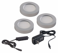 Maxim 53853AL CounterMax MX-LD-R Brushed Aluminum LED Puck Light Starter Kit