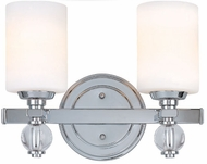 Troy B1582PC Bentley 2 Light White and Chrome Vanity Wall Lighting Fixture