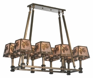 Meyda Tiffany 106652 Balsam Pine 8 Lamp Rustic Antique Copper Finish Island Lighting Fixture