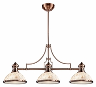 Landmark 66445-3 Chadwick 3 Lamp Cappa Shell Antique Copper 47 Inch Wide Island Light