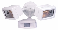 Nuvo 76506 Exterior Flood Light White Twin Mini Halogen Flood Light With Motion Censor - 15 Inches Wide