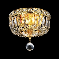 Elegant 2528F8G-RC Tranquil Mini 8  Gold Crystal Flush Lighting