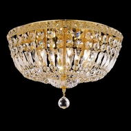 Elegant 2528F16G-RC Tranquil Medium 16  Crystal Gold Flush Ceiling Light Fixture