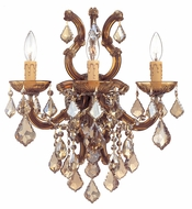 Crystorama 4433ABGTMWP Maria Theresa Brass Golden Teak Crystal Wall Sconce Candles