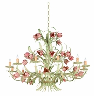 Crystorama 4809-SR Southport 39 inch 12-lite chandelier in sage green and rose