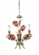 Crystorama 4803-SR Southport 14 inch mini rustic chandelier in sage green and rose