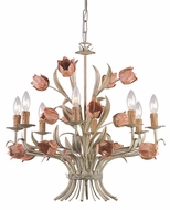 Crystorama 4808-SR Southport 24 inch chandelier in sage green and rose